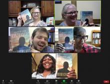 A screenshot of a book club meeting on Zoom